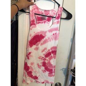 Pink tie dye racer back tank top